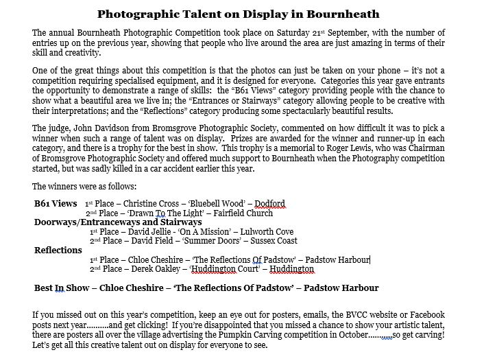 Snap Happy At Bournheath's Annual Photographic Competition 1