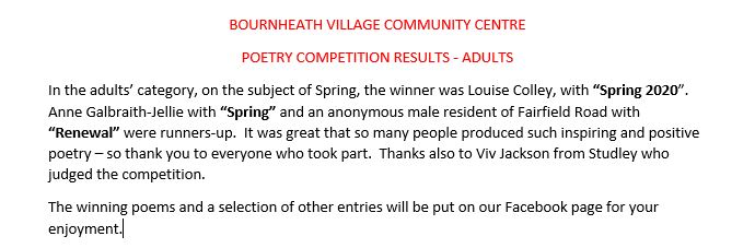 POETRY RESULTS         (ADULT AGE GROUP) 1