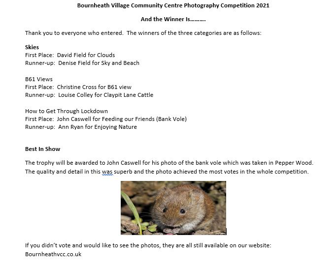 Results of the Bournheath Village Photography Competition 2021 1